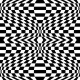 Checkered pattern with distortion effect. Mirrored chequered pattern with distortion effect. Symmetric pattern. Repetitive. - Royalty free vector illustration Royalty Free Stock Images