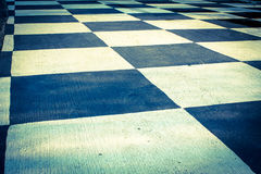 Checkered pattern floor,vintage light style. Stock Photos