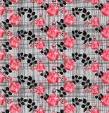 Checkered pattern with pink flowers Royalty Free Stock Photo