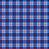 Checkered pattern, small squares, seamless pattern, blue, vector. Blue squares and red thin lines on a gray field. Geometric, colored background Royalty Free Stock Photo