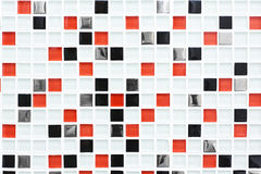 Checkered pattern tile background, red and black checks. Checkered pattern tile background. Architectural detail, abstract background pattern. White, red and Stock Photo