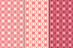 Checkered plaid fabric background. Red seamless patterns set stock illustration