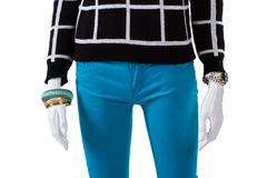 Checkered pullover with turquoise pants. Stock Image
