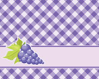 Checkered purple background with grapes. Vector. tablecloths Royalty Free Stock Images