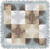 Checkered quilt weave plaid with decorative circles and fringe Stock Images