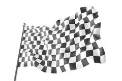 Checkered race flag. Finishing checkered flag, 3d rendering isolated on white background Stock Photo