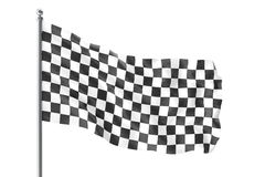 Checkered race flag. Finishing checkered flag, 3d rendering isolated on white background Royalty Free Stock Photography