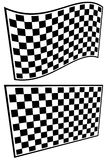 Checkered racing flag elements isolated on white. Stock Photo