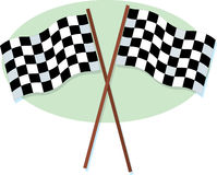 Checkered Racing Flags. A crossed pair of checkered racing flags Royalty Free Stock Photos