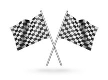 Checkered racing flags. 3d illustration. Checkered racing flags - 3d illustration, on white background Royalty Free Illustration