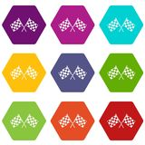 Checkered racing flags icon set color hexahedron. Checkered racing flags icon set many color hexahedron isolated on white vector illustration Stock Photos