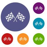 Checkered racing flags icons set. In flat circle reb, blue and green color for web Vector Illustration