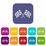 Checkered racing flags icons set. Vector illustration in flat style in colors red, blue, green, and other Royalty Free Stock Photo