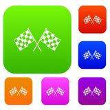 Checkered racing flags set collection. Checkered racing flags set icon in different colors isolated vector illustration. Premium collection Stock Photos