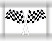 Racing Flags. Vector illustration of two crossed checkered racing flags stock illustration