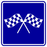 Checkered racing flags vector sign. Vector sign with two checkered racing flags symbol Stock Photography