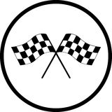 Checkered racing flags vector symbol. Vector symbol of two checkered racing flags Stock Illustration