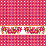 Checkered red floral seamless pattern repeat Royalty Free Stock Image