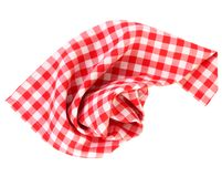 Checkered red picnic cloth isolated. Checkered gingham red kitchen towel isolated.Picnic table cloth Royalty Free Stock Photo