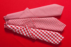 Checkered red and white clothes on  red Stock Photo