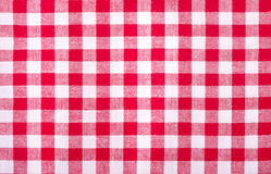Checkered red and white tablecloth Stock Photo
