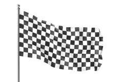 Checkered Rennenmarkierungsfahne Vollendenzielflagge, Wiedergabe 3d lokalisiert auf weißem Hintergrund Lizenzfreie Stockfotografie