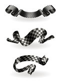Checkered ribbons set Stock Photo