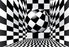 Checkered room with ball Stock Image
