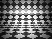 Checkered room 3d illustration. Checkered black and white room 3d illustration Stock Photography