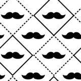 Checkered seamless pattern with black lines and mustaches. Vector illustration stock illustration