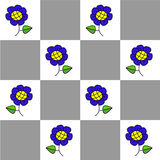 Checkered seamless pattern with flowers Stock Images