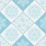 Checkered seamless pattern with snowflakes Royalty Free Stock Photography