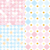 Checkered seamless patterns set Royalty Free Stock Image