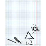Checkered sheet with simple drawings Stock Photos