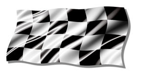 Checkered shiny waving  flag Stock Photo