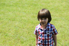 Checkered shirt boy grass Royalty Free Stock Images