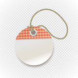 Checkered shopping tag with rope on transparent Stock Images