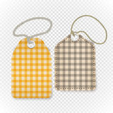 Checkered shopping tag with rope on transparent Royalty Free Stock Images
