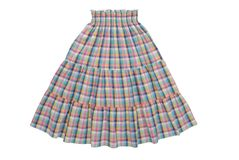 Checkered  skirt with elastic belt Stock Photography