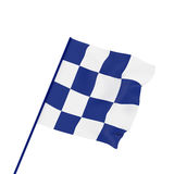Checkered sport flag  on white, 3d render, 3d illustration Stock Image
