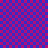 Checkered Star Pattern. Red and blue geometric star shape pattern Royalty Free Stock Photos