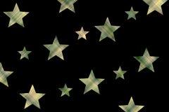 Checkered stars. Dark green and vanilla checkered stars on a black background Stock Photos