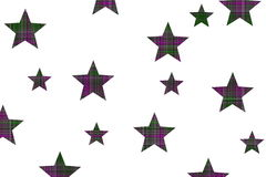 Checkered stars. Purple and dark green checkered stars on a white background Royalty Free Stock Photos