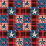 Checkered stars seamless red blue pattern Stock Images