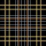 Checkered striped greek vector seamless pattern. Ornamental tartan background. Repeat plaid backdrop. Greek key meanders ornament. Vertical and horizontal stock illustration