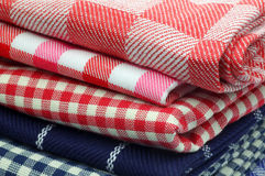 checkered and striped kitchen towels Royalty Free Stock Photography