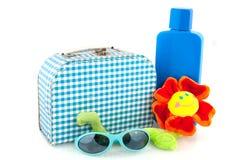 Checkered suitcase Stock Photo