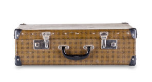 Checkered suitcase lying Royalty Free Stock Image