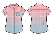Checkered summer shirt with gradient effect. Front and back view of a checkered summer shirt vector illustration