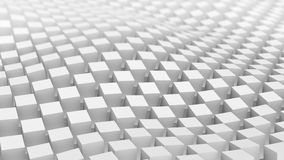 Checkered surface of white cubes waving. 3D render. Checkered surface of white cubes waving. Abstract geometric 3D render background Stock Photography